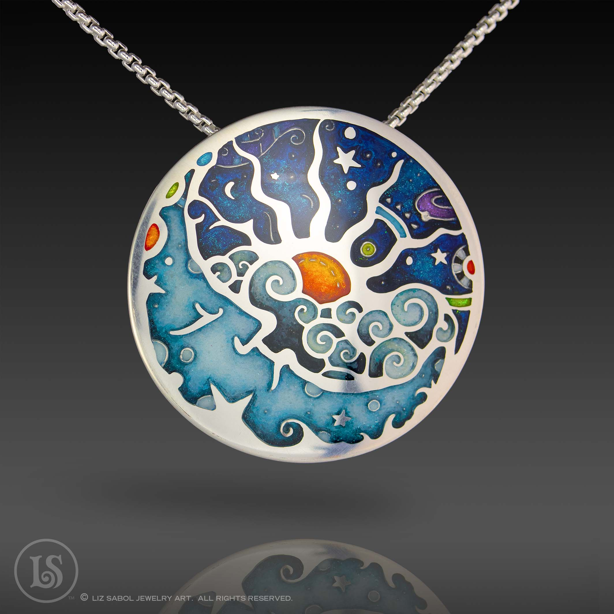 Cosmic Wind Pendant, Sterling Silver